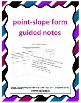 point slope form guided notes  Point-Slope Form Guided Notes | Math courses, Note sheet