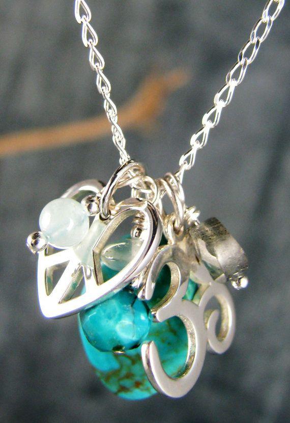 Yoga Jewelry, Om Charm Necklace, Chakra Jewelry, Sterling Silver