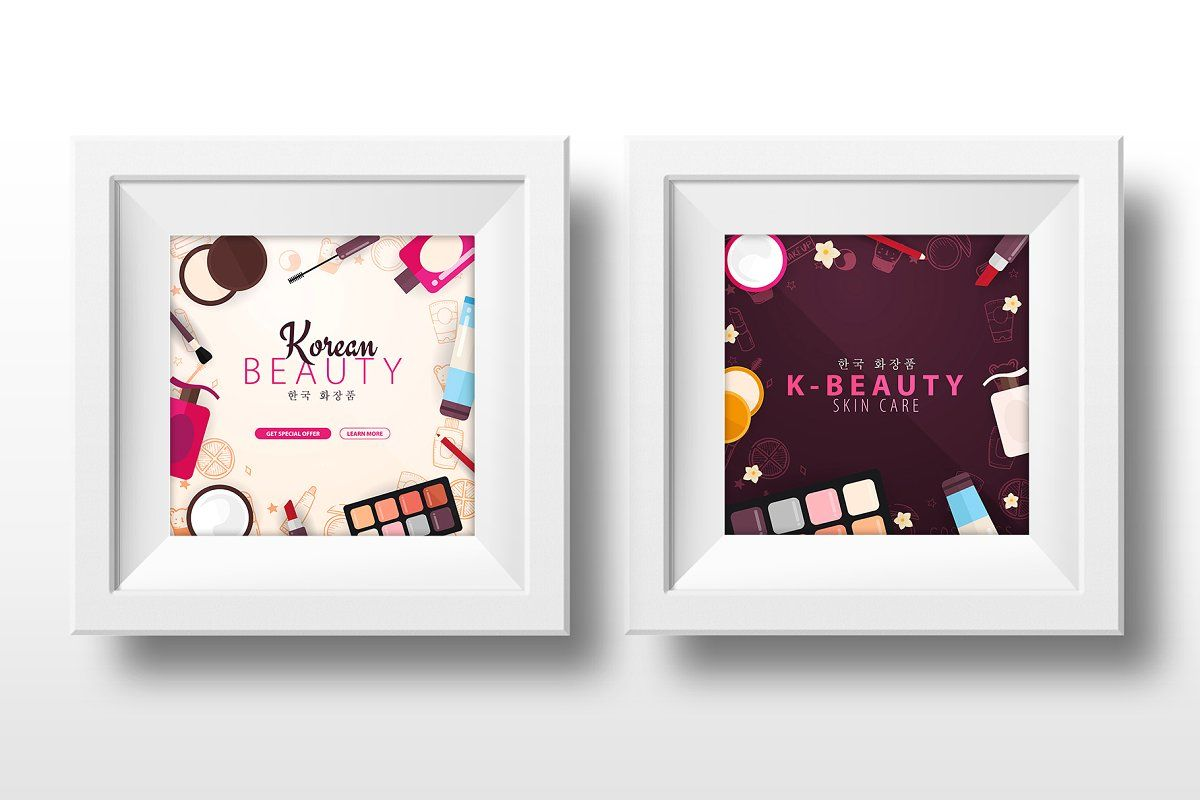 Korean Cosmetics Make Up Skincare Korean Cosmetics Social Media Banner Flower Shop Design
