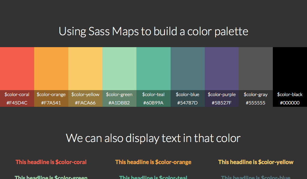 Generate A Color Palette With Sass Using Maps Code