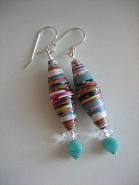 Handmade paper bead dangle earrings