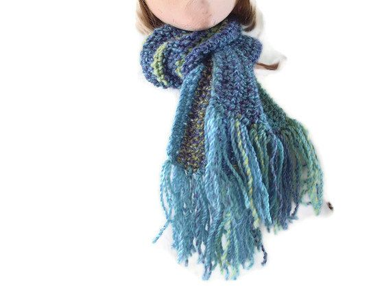 Crocheted Scarf with Fringe in Blues, Purples, greens and Yellows. Men, Women, Accessories, Winter Sports, by UniquelyYourDesigns, £12.50
