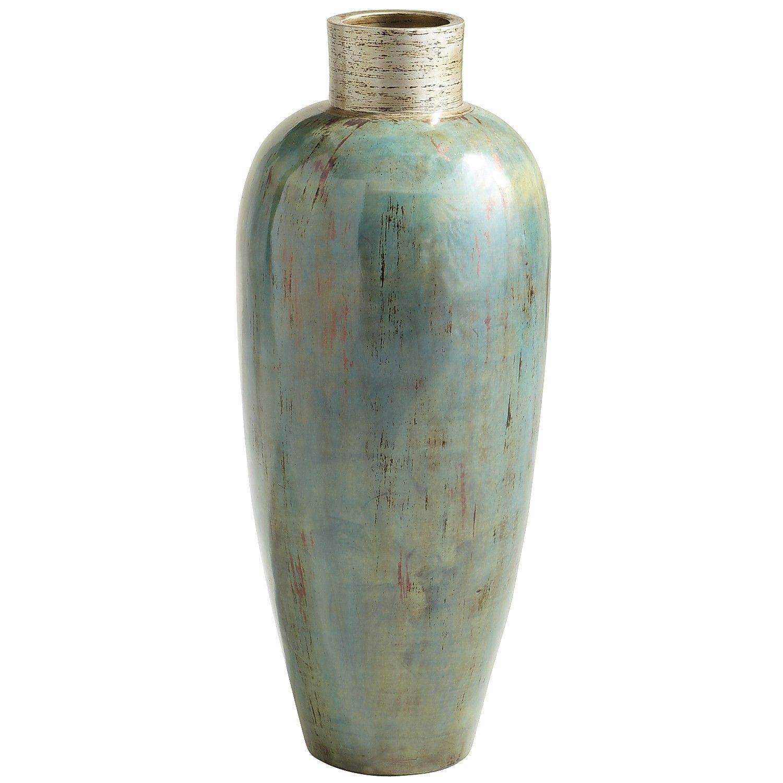 Ocean Blue Patina Terracotta Floor Vase