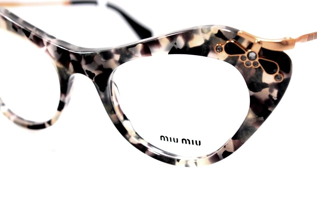 Miu Miu MU 09MV DHE1O1 Women Animal-print Cat-eye Clear $326.49 ...