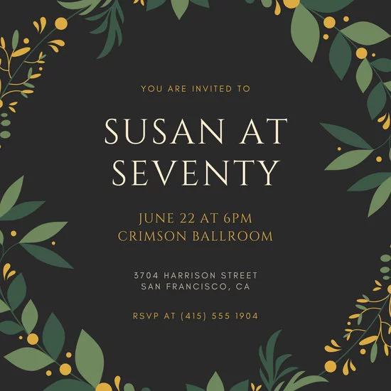 Black And Gold Elegant 70th Birthday Invitation Templates By Canva 70th Birthday Invitations Elegant Birthday Invitations Elegant Birthday Invitation Design
