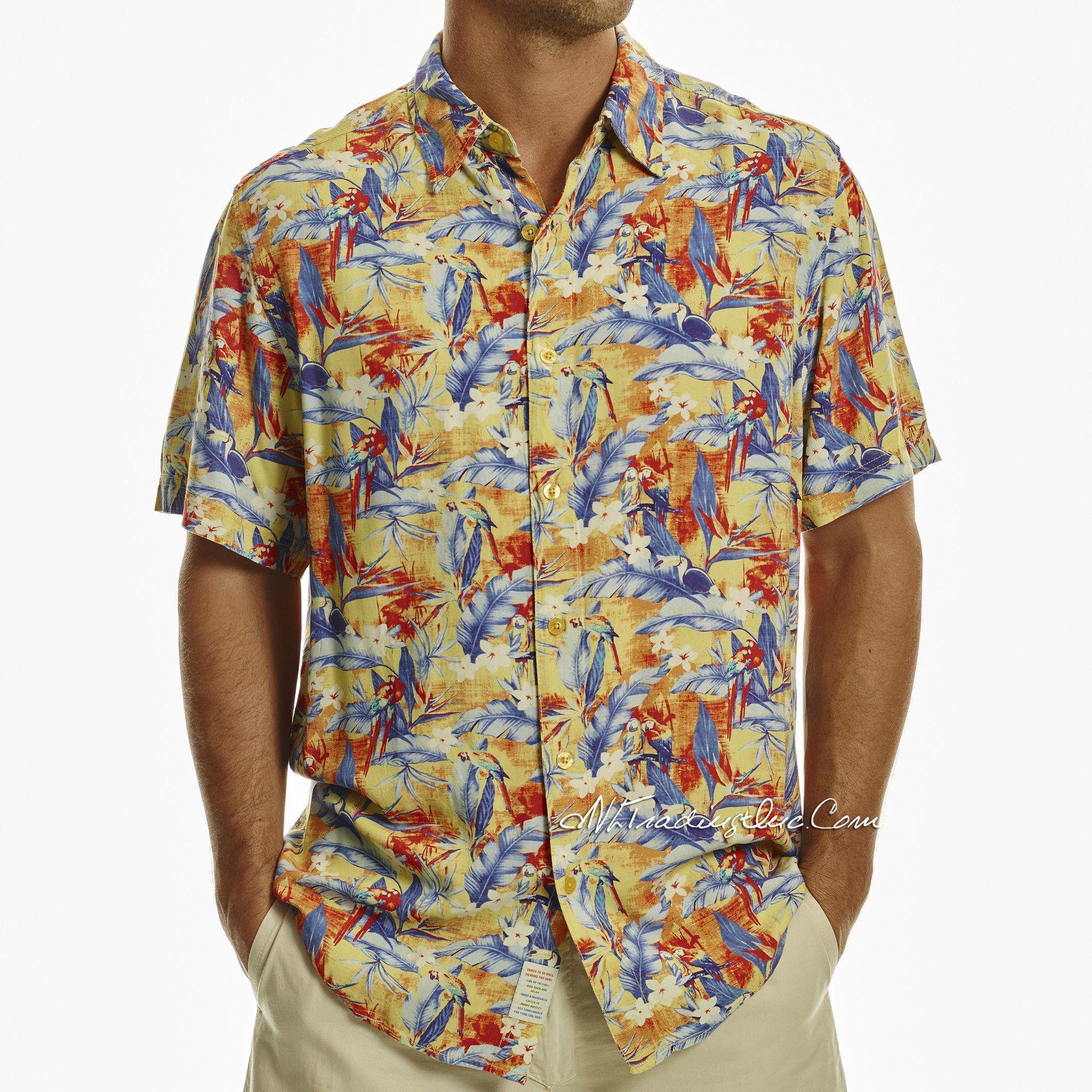 ce2c4a6281e Margaritaville Men Rayon Short Sleeve BBQ Beach Button Front Tropical Shirt  Parrotdise (Blue Yellow)