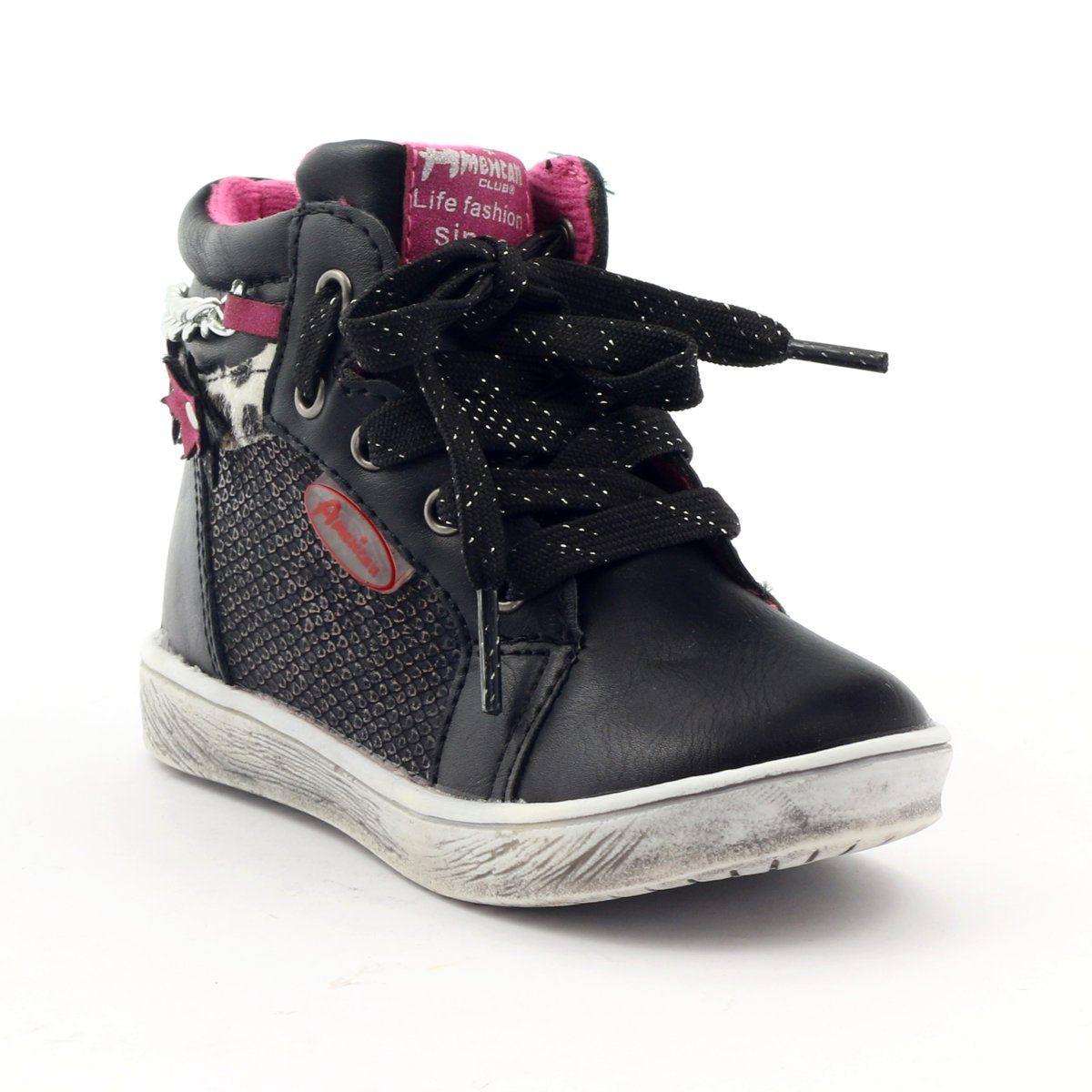 American Club Trzewiki Sportowe Kwiatek American 10108 Rozowe Zolte Czarne Club Shoes Childrens Shoes Kid Shoes