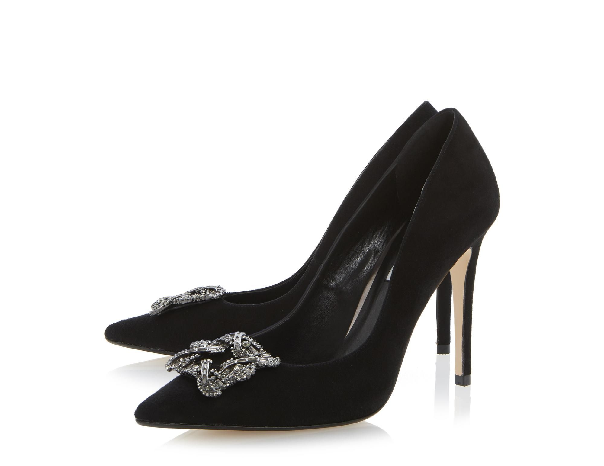 e2febb4e39 DUNE LADIES BREANNA - Jewelled Square Brooch Pointed Toe Court Shoe - black  | Dune Shoes Online