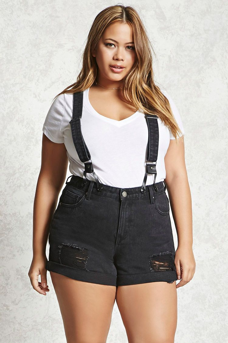 889017ac177 Forever 21+ - A pair of suspender shorts featuring adjustable and removable  faux leather trimmed straps