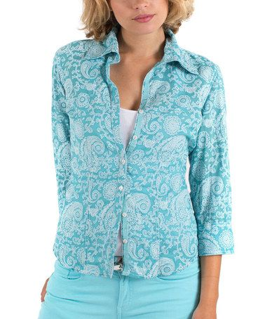 Love this Turquoise & White Paisley Button-Up by Cino on #zulily! #zulilyfinds