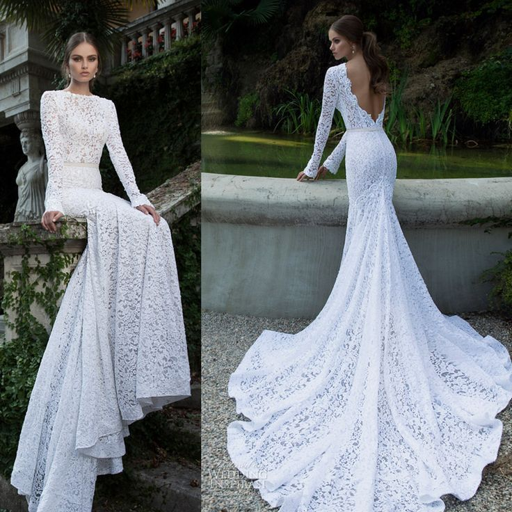 2014 vestidos de noiva lace long sleeve backless cathedral train ...