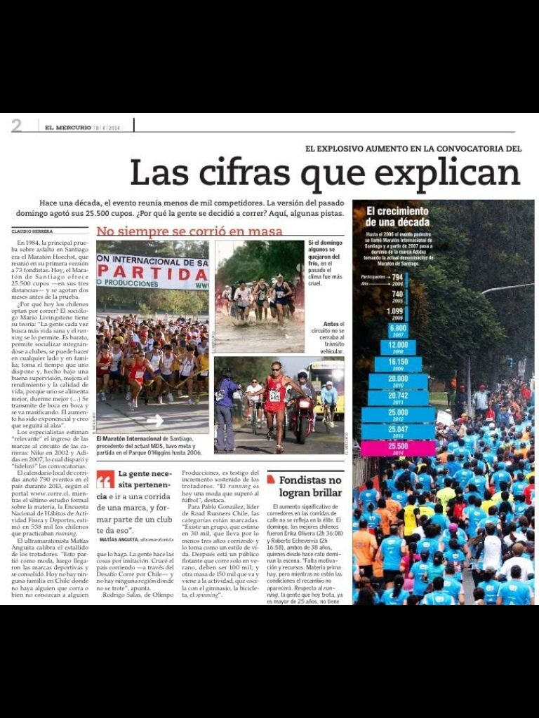 Como el deporte genera interés en las calles. Símbolo de que hay cambio en el bienestar de los chilenos. Que nos preocupa, que deseamos.