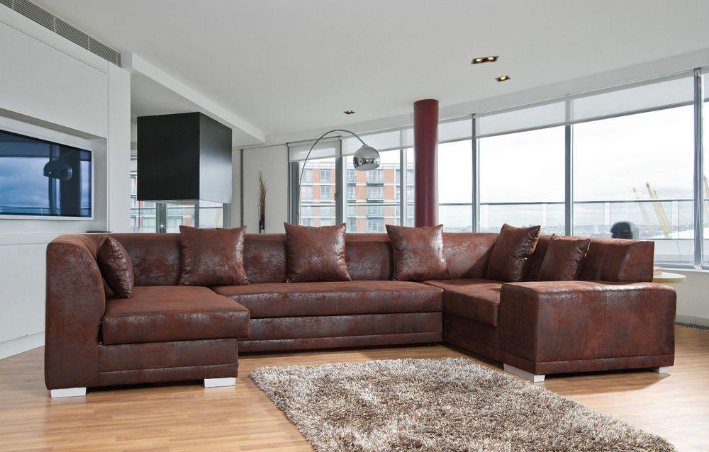 Details zu Couchgarnitur Eckcouch Schlafsofa OAKLAND BIS mit - big sofa oder wohnlandschaft