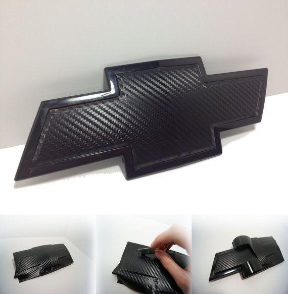 2 Carbon Fiber Chevy Bowtie Vinyl Overlay Sheets Emblem Decal