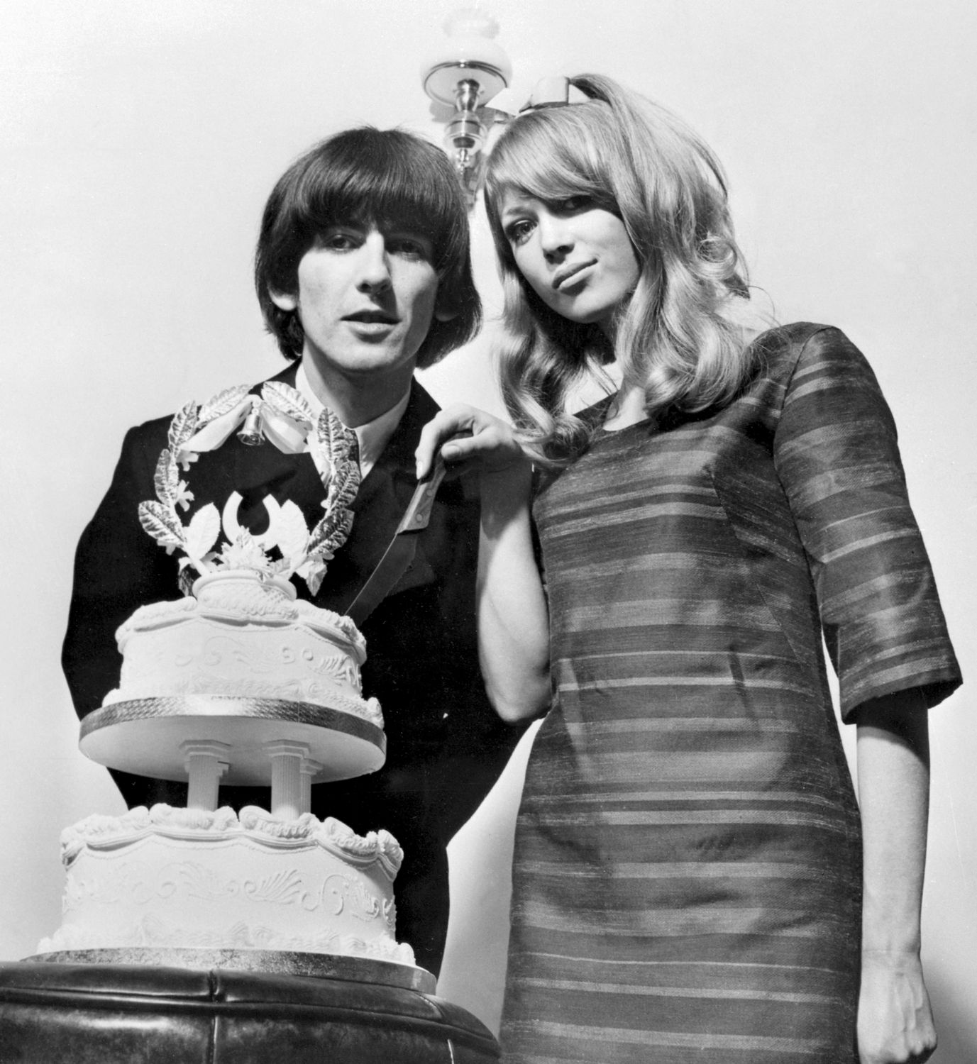 George Harrison 22 And Model Patti Boyd 21 Cut The Wedding Cake