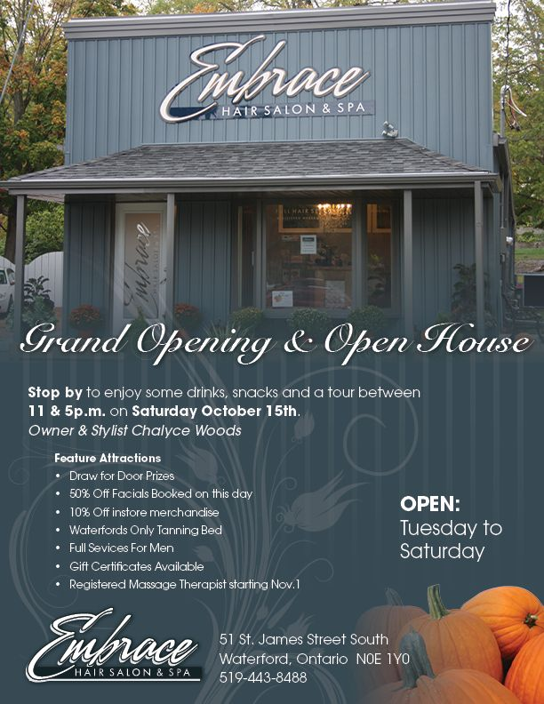 Grand opening flyer ideas embrace hair salon spa open house invites pinterest grand for Grand opening flyer ideas