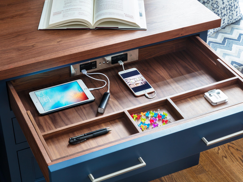 Kitchen Desk Wfh Work From Home Office With Docking Drawer Charger Drawer Kitchen Design Kitchen Desks Diy Desk Decor Clever Storage