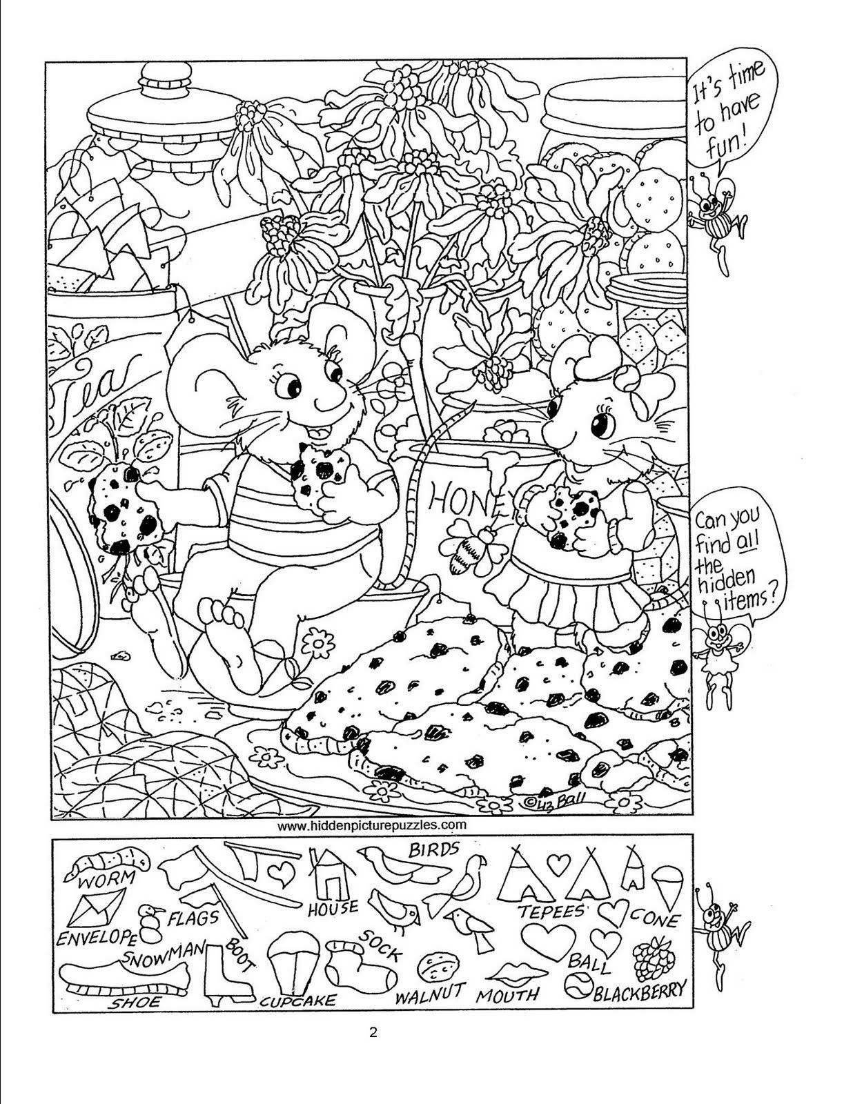 Hidden Picture Puzzles | Hidden Objects for Colouring | Pinterest ...