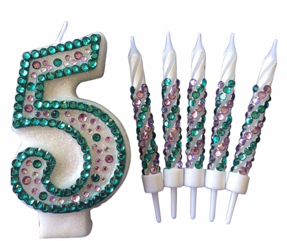 Little Mermaid Birthday Candles Diamanté Candles Cake