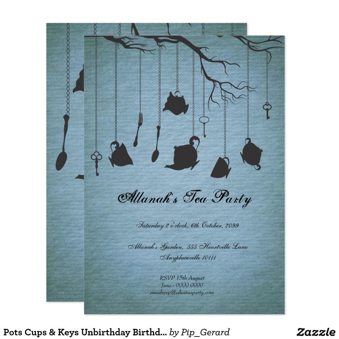 Pots Cups & Keys Unbirthday Birthday Tea Party Card | Tea Party ...