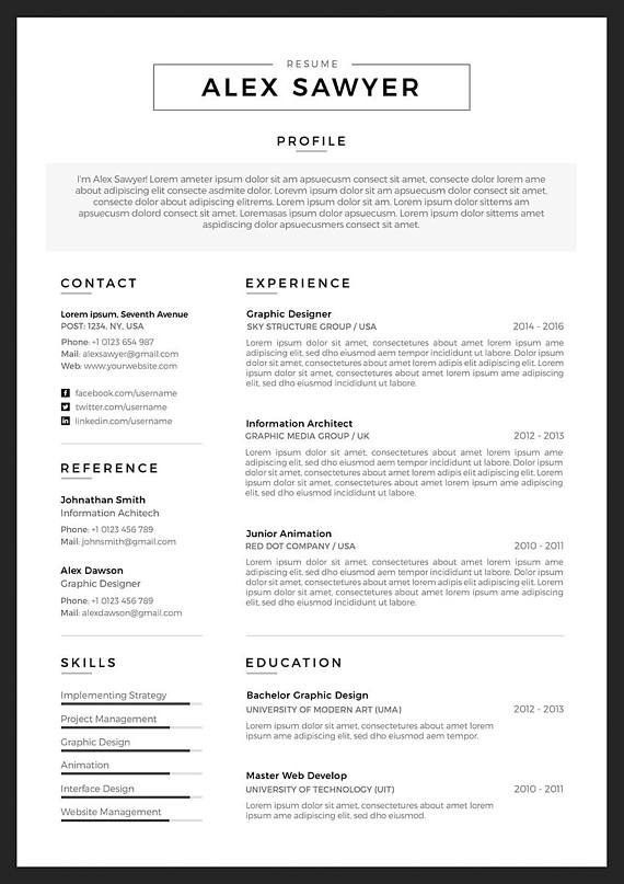 Modern Resume Template Cv Template Cover Letter For Word Two Page Resume Professional Resume Template Instant Download As Resume Resume Template Marketing Resume Resume