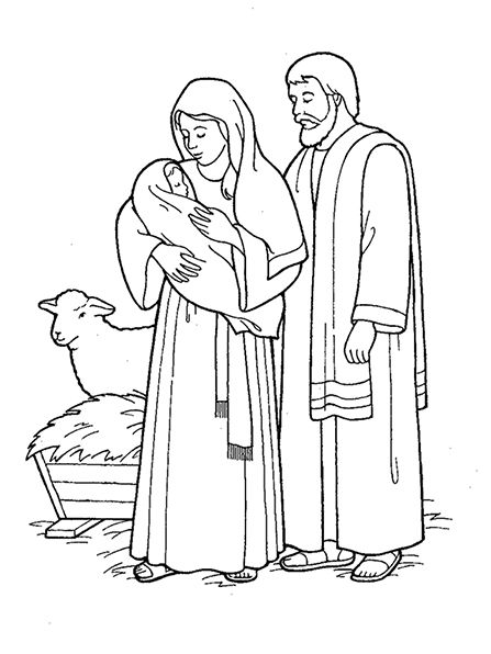An Illustration Of The Nativity With Mary Joseph And Baby Jesus From The Nursery Manual Behold Your Family Coloring Pages Bible Coloring Pages Coloring Pages