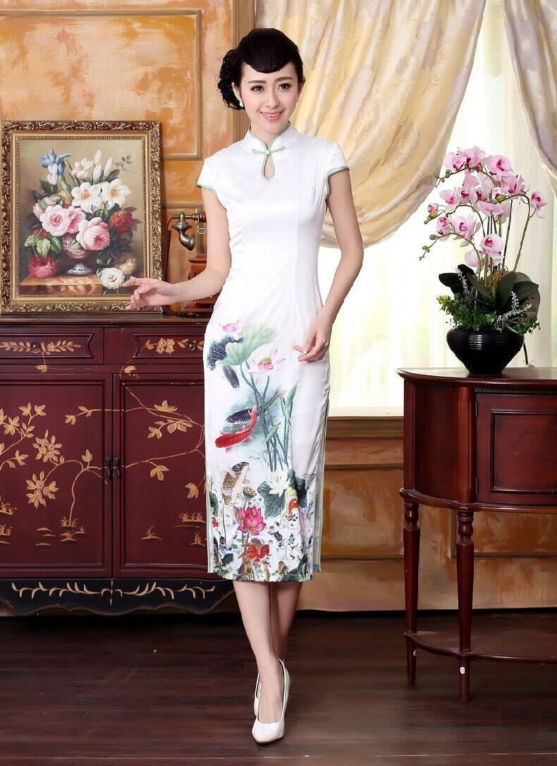 Novelty white chinese female long satin qipao cheongsam women sexy