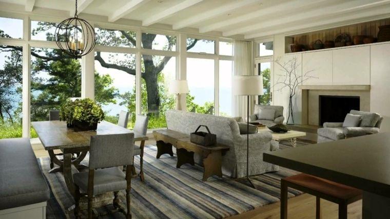 luminosa vetrata, idea per arredare salotto e sala da pranzo insieme ...