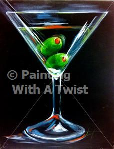 One Olive Or Two Oil Painting Inspiration Wine Painting Canvas And Cocktails