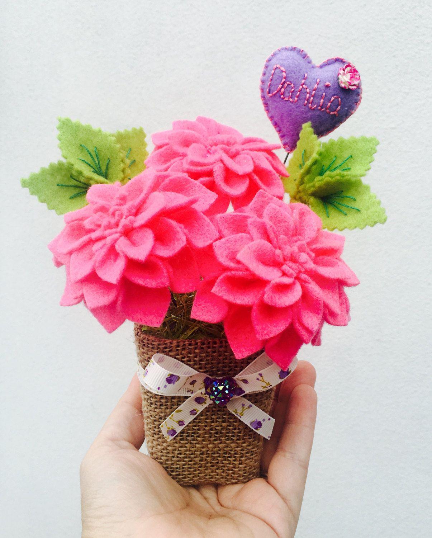 Personalised Felt Dahlia Flower Pot Birthday Gift For Her Fake
