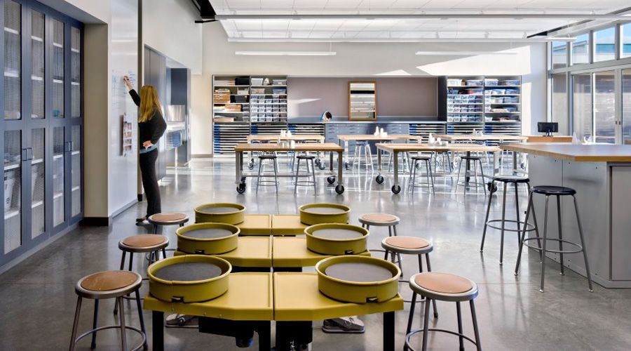 Good Art Room And   Large Open Space   Tables That Can Roll To Change  Activities. I Like The Idea Of The Two Classrooms Having The Ability To  Open Up Into One ... Nice Look
