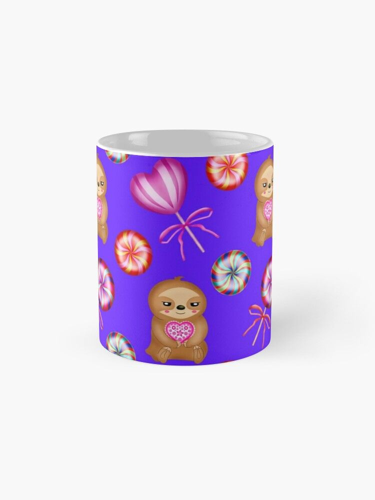 'Funny happy little pink baby sloths holding pink hearts. Sweet vintage retro lollipops. Cute girly purple winter pattern design. Gift ideas for sloth and candy lovers. Nursery decor.' Mug by MerveilleDesign #hellodecember