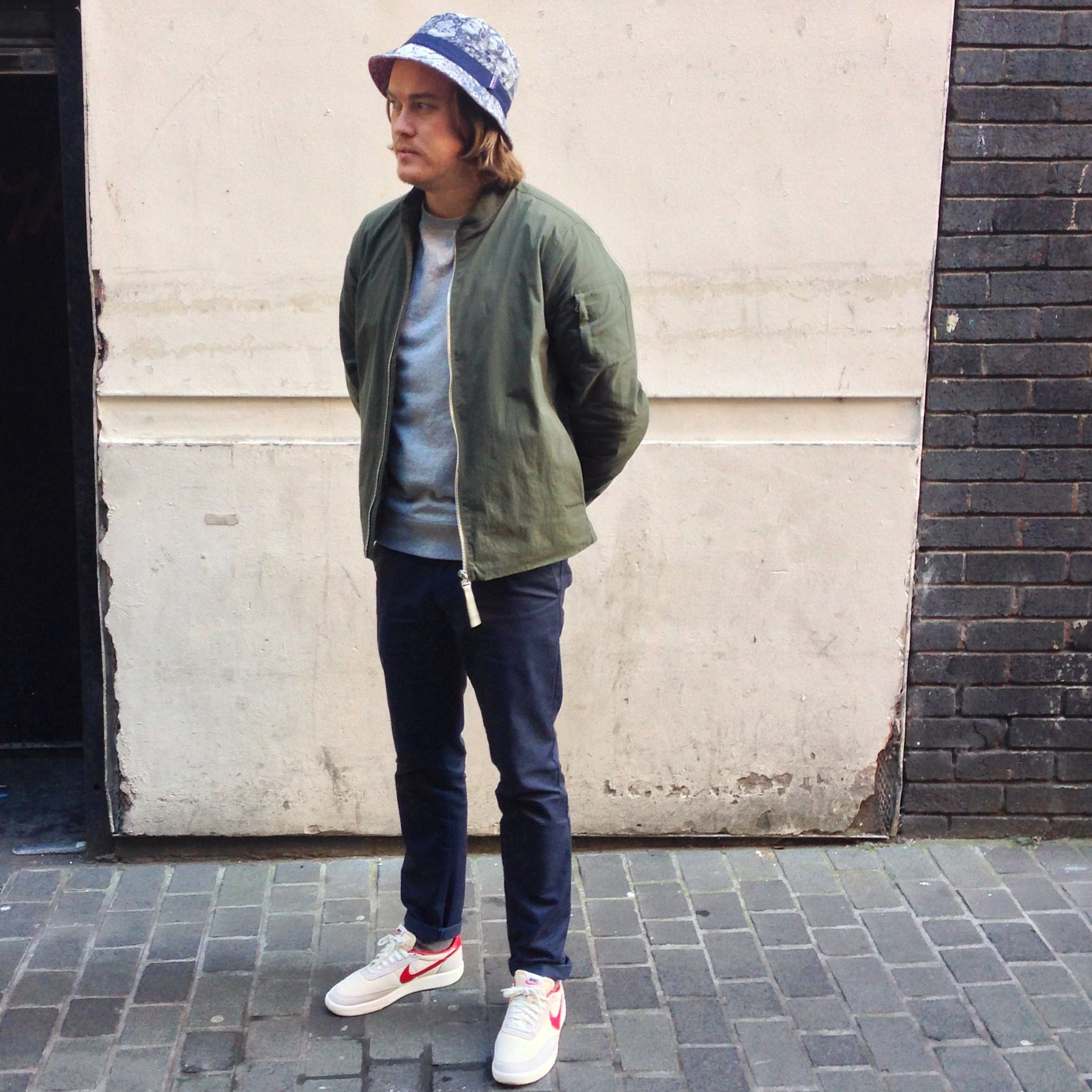 bec5a25947 Chris wears; Norse Projects Ryan Ripstop Bomber Jacket, Sunspel Classic  Sweatshirt, Carhartt Sid Pants, Nike Killshot Vintage & Patagonia  Wavefearer Bucket ...