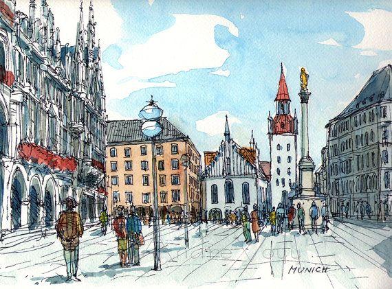 Munich Art Print From An Original Watercolor Painting Bilder Aquarell Illustration