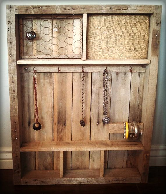 Vintage Pallet Wood Jewelry Case Holder Jewelry Organizer Diy Wall Wood Jewelry Diy Jewelry Organizer Wall