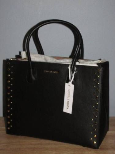 4a19b60ff4d907 Michael Kors Mercer Large Stud & Grommet Leather Convertible Tote Black  Gold NWT
