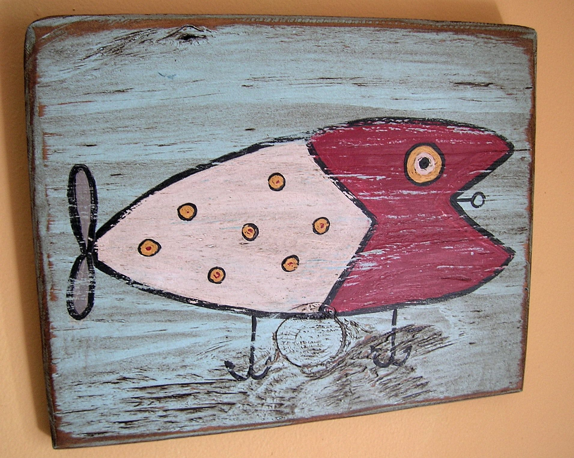 Fishing lure painting on wood cabin crafts painted wood