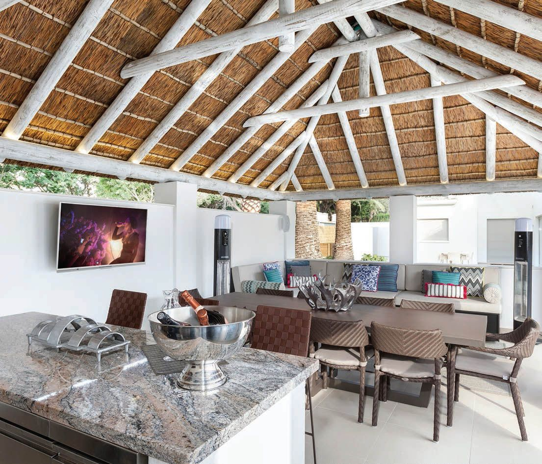 Outdoor Kitchen With Thatched Gazebo Outdoor In 2019: Cape Reed: This Striking Modern Outdoor Living Area With