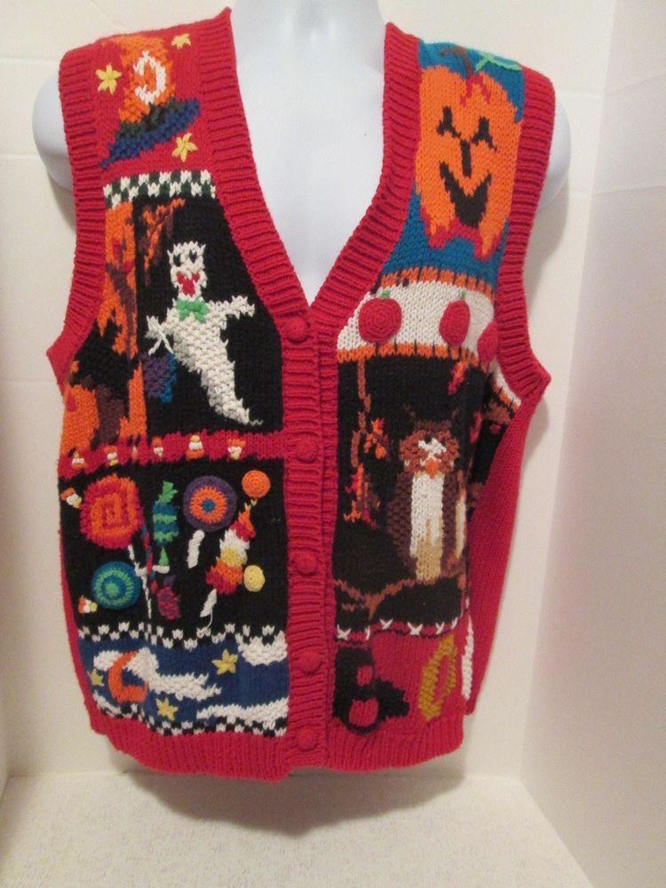 Women's Petite Large Tiara Halloween Sweater Vest Button