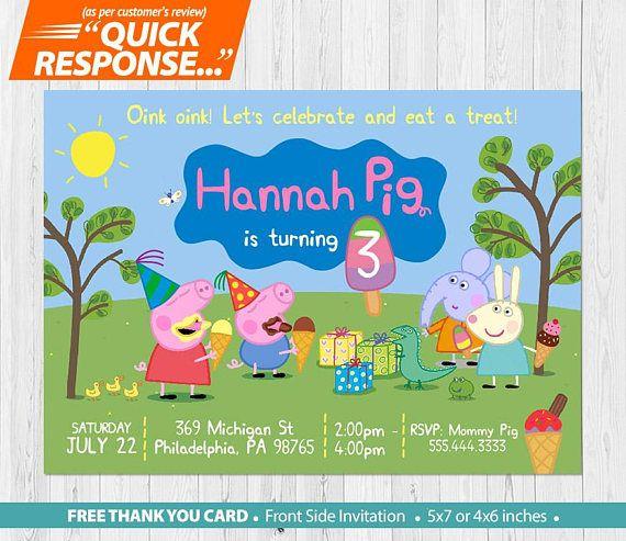 Peppa Pig Ice Cream Invitation Peppa Pig Invitation Peppa Pig