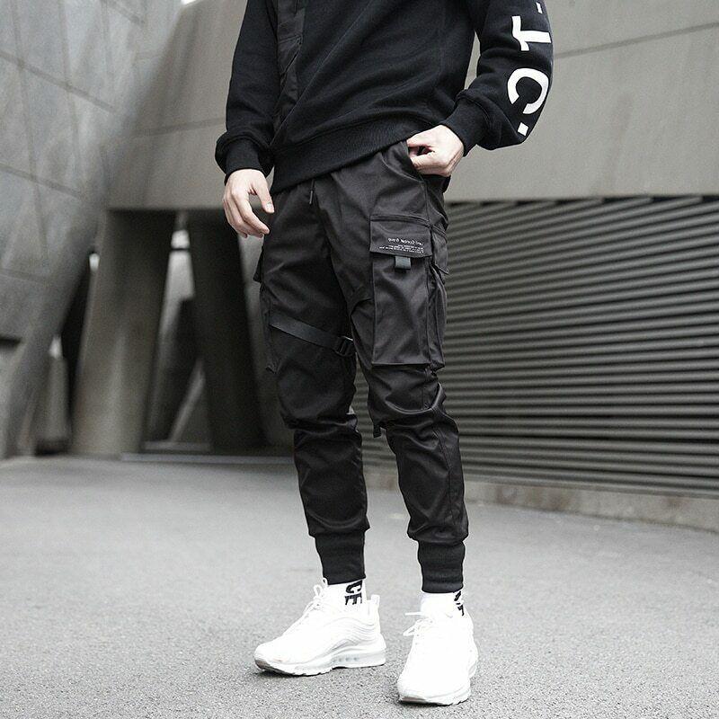 Pantalones Cargo Negros De Hip Hop Para Hombre Ropa De Calle Pantalones De Ebay In 2021