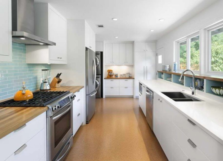 Kitchen Peninsula with Seating | Galley kitchen with ...