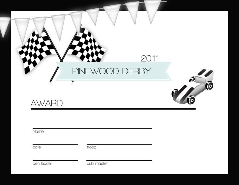 The Pinewood Derby Certificate