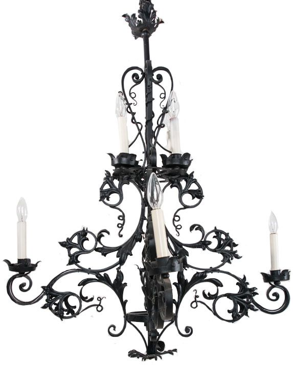French Gothic Style Iron Chandelier | Fireside Antiques