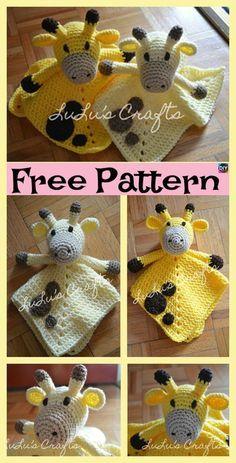 Crochet Giraffe Lovey - Free Pattern #crochetsecurityblanket