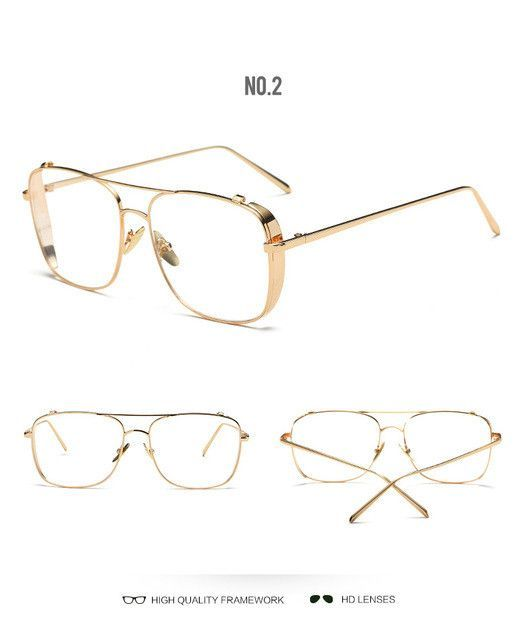 cda3e05a77c8 2017 New Brand Gold Clear Eyeglasses Frame Men Big Myopia Glasses Women  Computer Glasses Frame Business