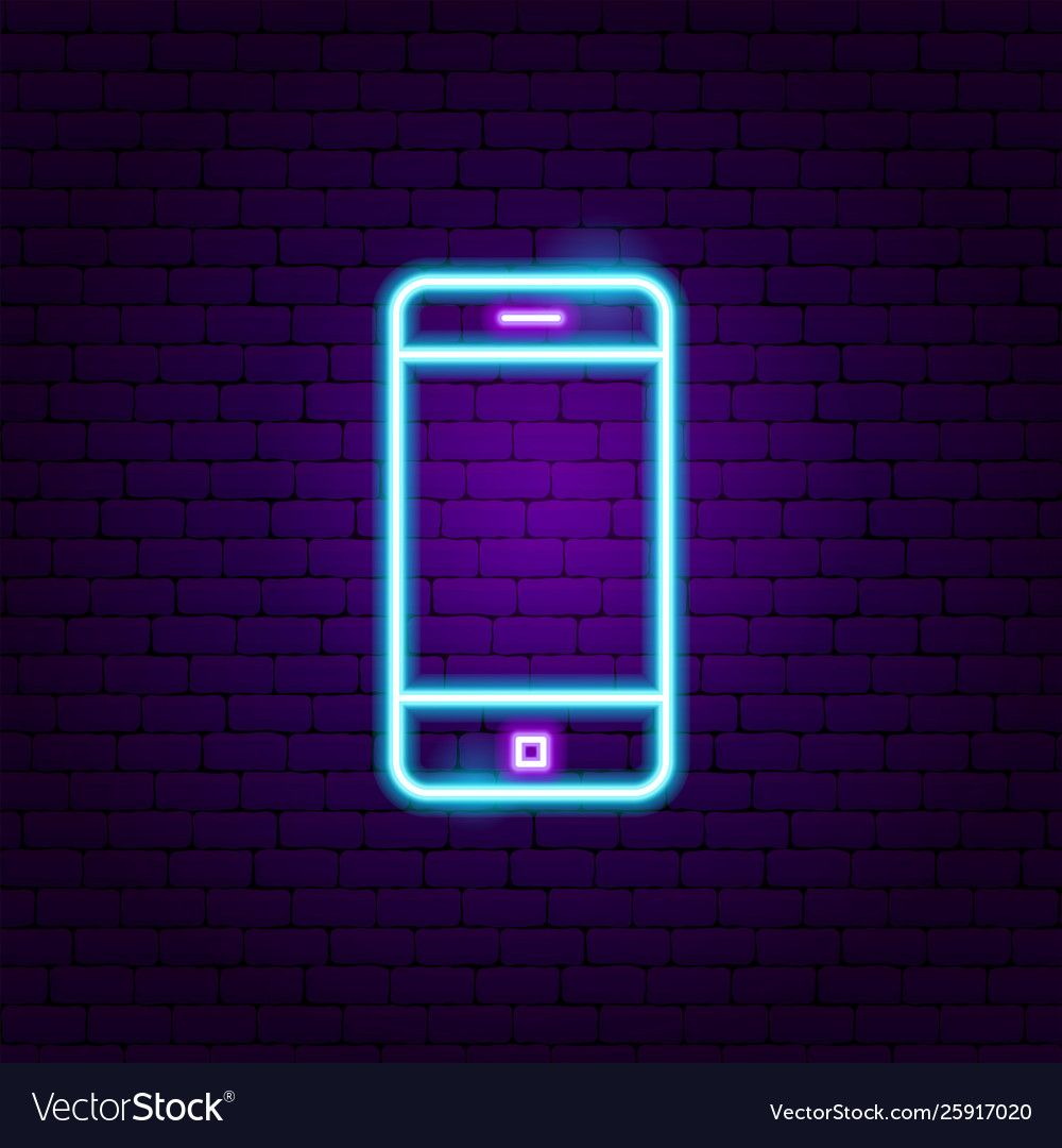 Mobile phone neon label vector image on VectorStock