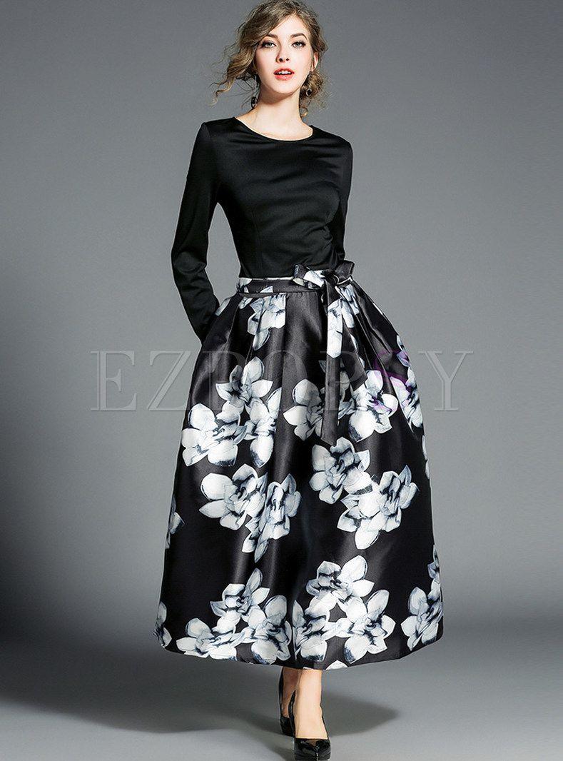 Black Floral Print Big Hem Maxi Dress Black Floral Skirt Maxi Dress Skirt Fashion [ 1066 x 789 Pixel ]