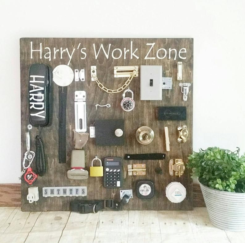 Items similar to Ultimate busy board *stained style* personalized-toddler busy board-everything included - stained backround-customizeale*latch board* on Etsy