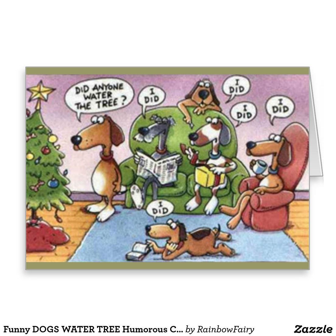 Funny DOGS WATER TREE Humorous Christmas Card. Artwork
